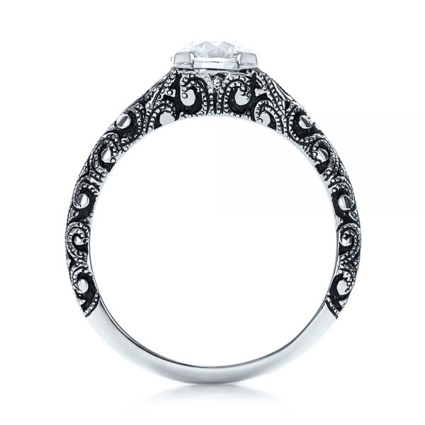 Custom Antiqued and Hand Engraved Diamond Engagement Ring - Front View -  101290 - Thumbnail