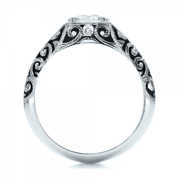Custom Antiqued and Hand Engraved Diamond Engagement Ring - Front View -  100881 - Thumbnail