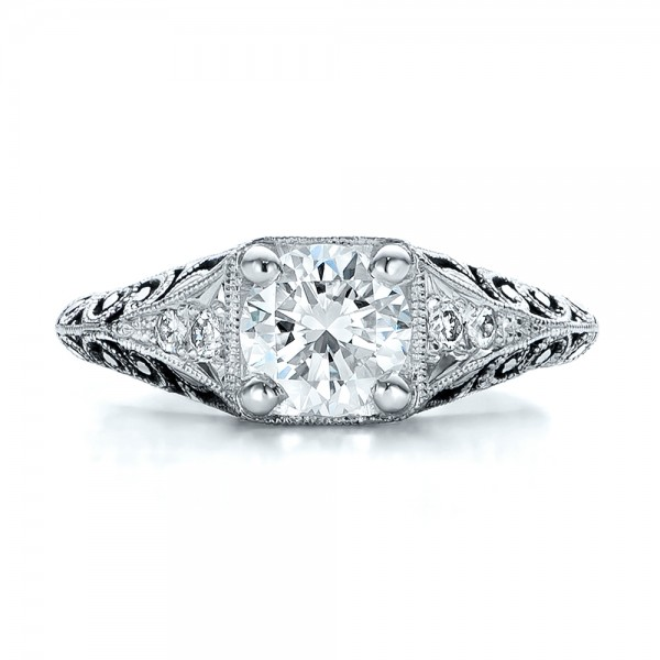 Custom Antiqued and Hand Engraved Diamond Engagement Ring - Top View -  100881 - Thumbnail
