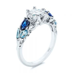 Custom Aquamarine, Blue Sapphire and Diamond Engagement Ring - Image