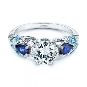 Custom Aquamarine, Blue Sapphire and Diamond Engagement Ring