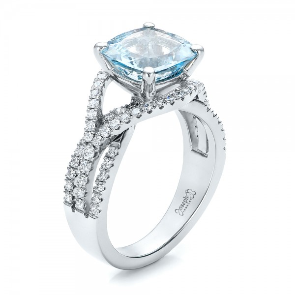 custom aquamarine and diamond engagement ring - Aquamarine Wedding Rings