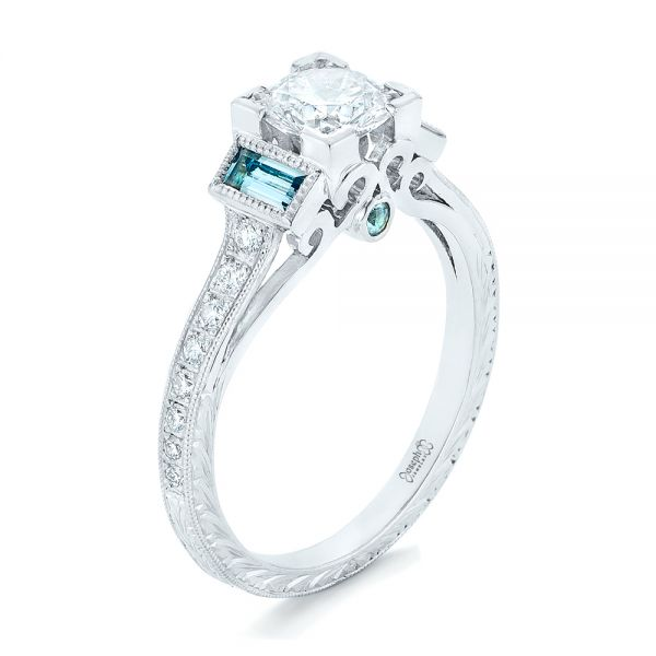 Custom Aquamarine and Diamond Engagement Ring