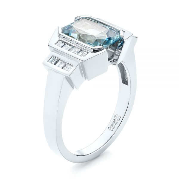 Custom Aquamarine and Diamond Engagement Ring - Image