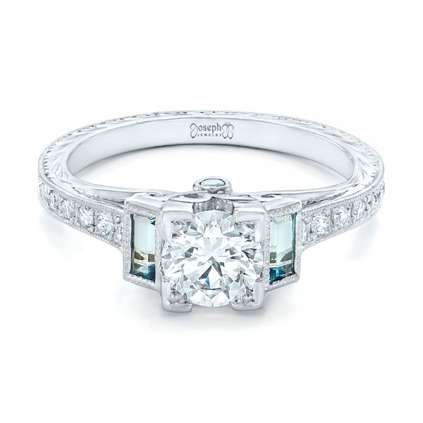 14K White Gold Custom Aquamarine and Diamond Engagement Ring - Flat View -  102862 - Thumbnail