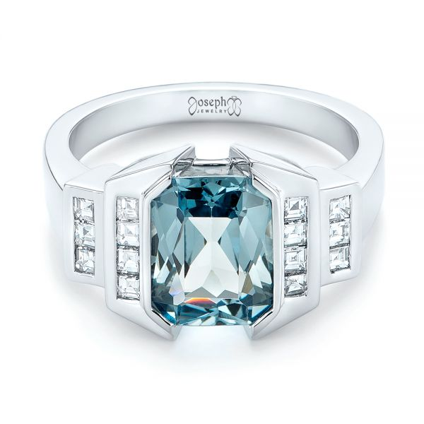 14k White Gold Custom Aquamarine And Diamond Engagement Ring - Flat View -  103824