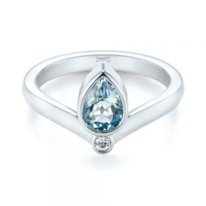 Custom Aquamarine and White Sapphire Engagement Ring