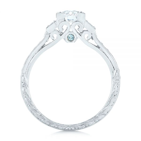 Custom Aquamarine and Diamond Engagement Ring - Front View -  102862 - Thumbnail