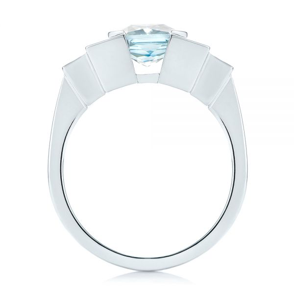 14k White Gold Custom Aquamarine And Diamond Engagement Ring - Front View -  103824