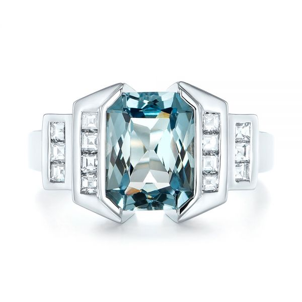 14k White Gold Custom Aquamarine And Diamond Engagement Ring - Top View -  103824