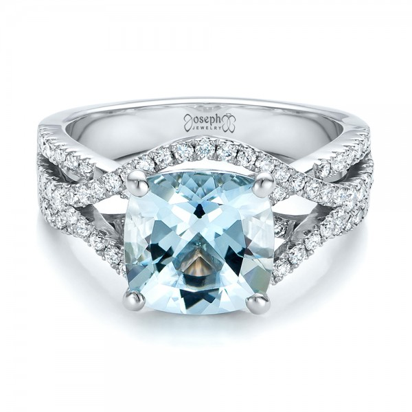 custom aquamarine and diamond engagement ring laying view - Aquamarine Wedding Rings