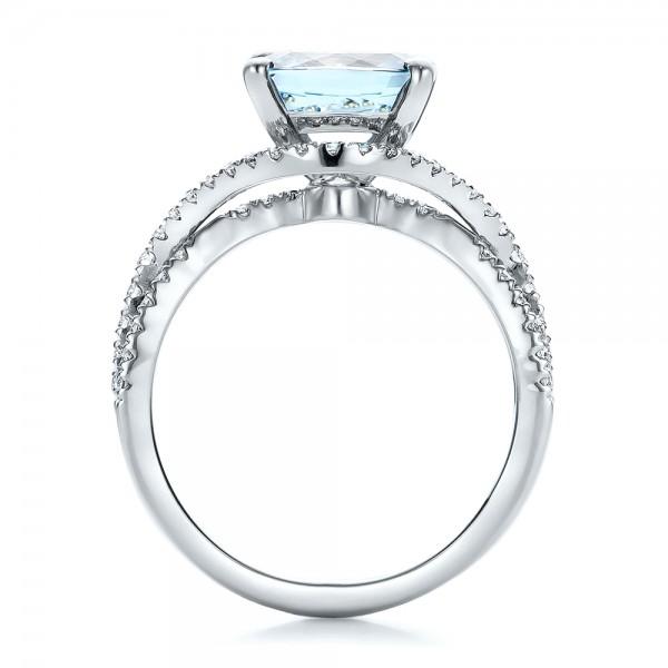 custom aquamarine and engagement ring 100895