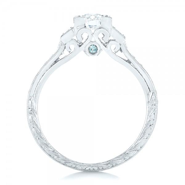Custom Aquamarine and Diamond Engagement Ring - Finger Through View