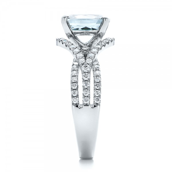 Custom Aquamarine and Diamond Engagement Ring - Side View