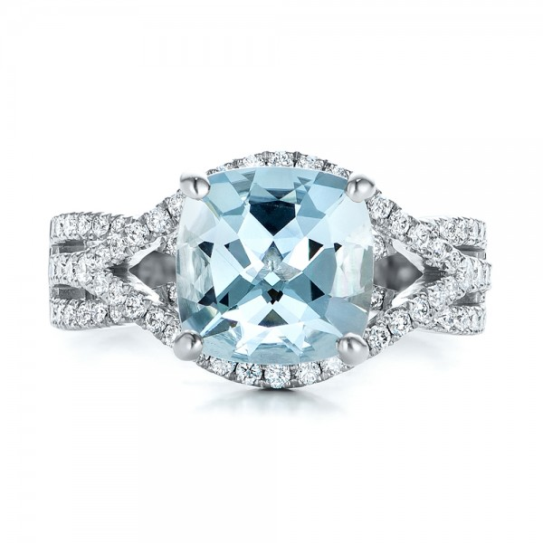 Custom Aquamarine and Diamond Engagement Ring - Top View