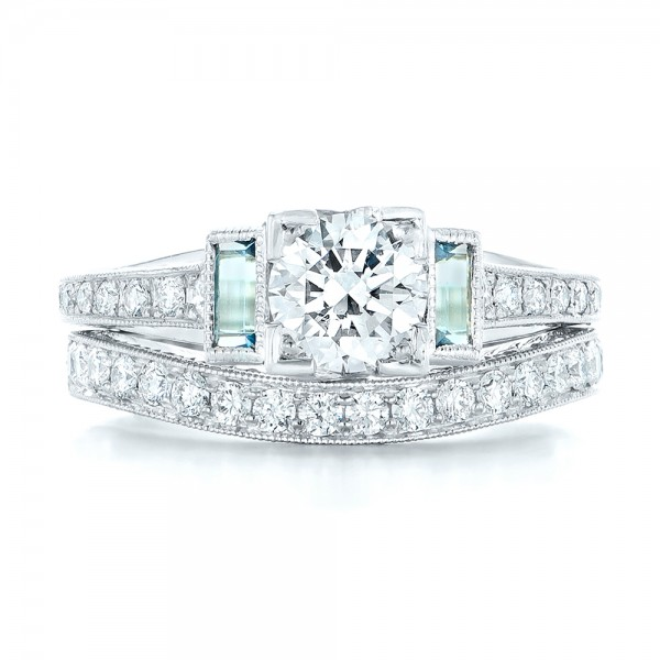 14K White Gold Custom Aquamarine and Diamond Engagement Ring - Top View -  102862 - Thumbnail