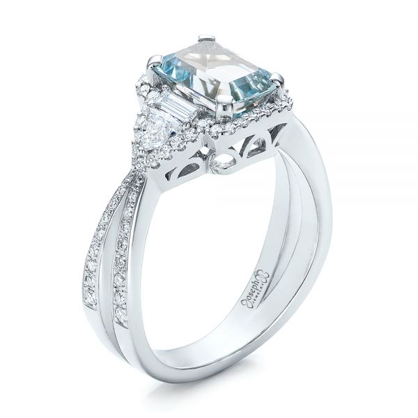 Custom Aquamarine and Diamond Halo Engagement Ring - Image