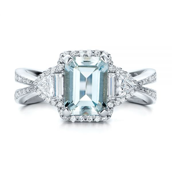 Custom Aquamarine and Diamond Halo Engagement Ring - Top View -  102048 - Thumbnail