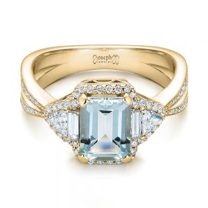 Custom Aquamarine and Diamond Halo Engagement Ring