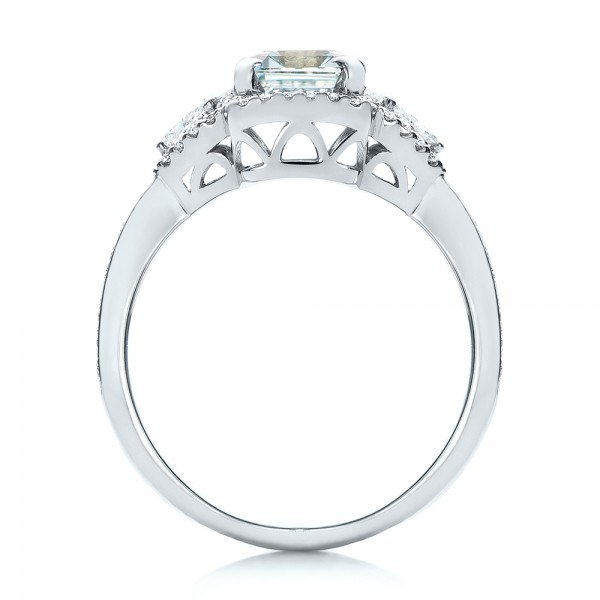 Custom Aquamarine and Diamond Halo Engagement Ring - Finger Through View