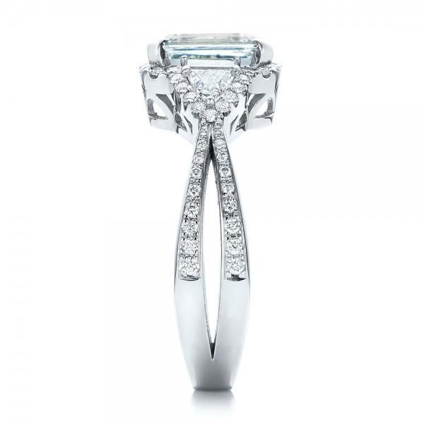 Custom Aquamarine and Diamond Halo Engagement Ring - Side View