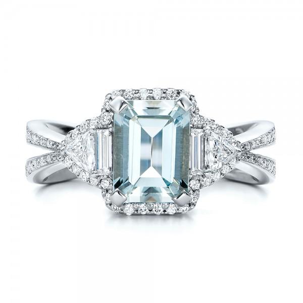 Custom Aquamarine and Diamond Halo Engagement Ring - Top View