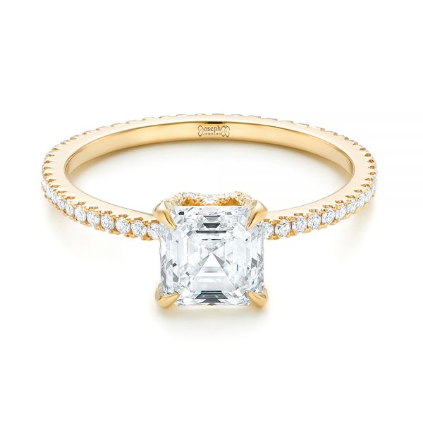 Custom Asscher Diamond Engagement Ring - Flat View -  102739 - Thumbnail
