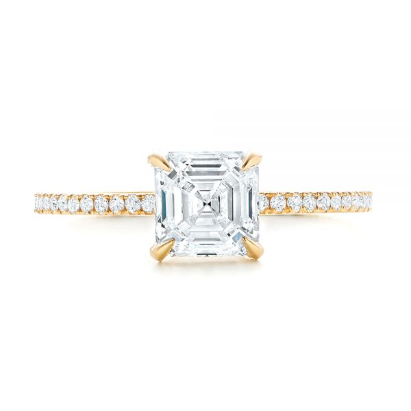18k Yellow Gold Custom Asscher Diamond Engagement Ring - Top View -  102739