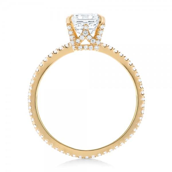 Custom Asscher Diamond Engagement Ring - Finger Through View