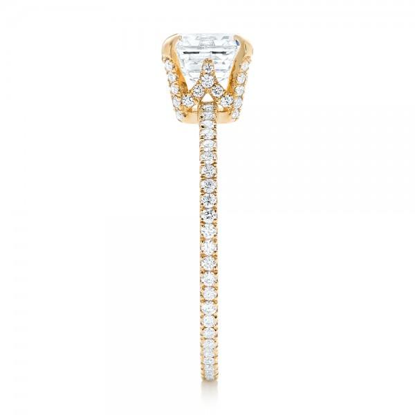 Custom Asscher Diamond Engagement Ring - Side View