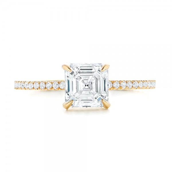 Custom Asscher Diamond Engagement Ring - Top View