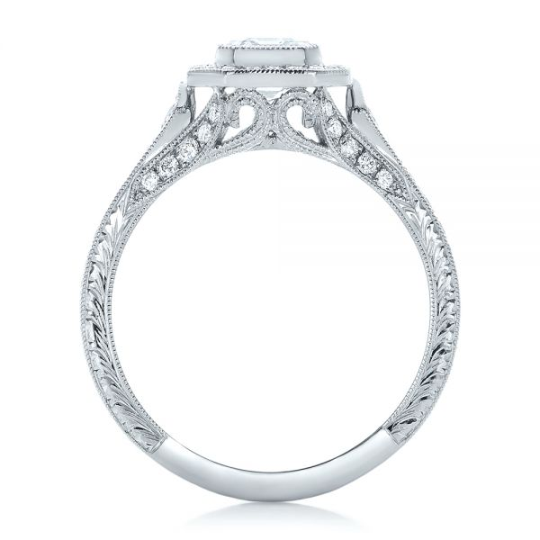 18k White Gold Custom Asscher Diamond And Halo Engagement Ring - Front View -