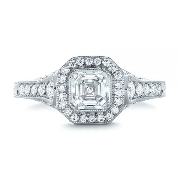 18k White Gold Custom Asscher Diamond And Halo Engagement Ring - Top View -