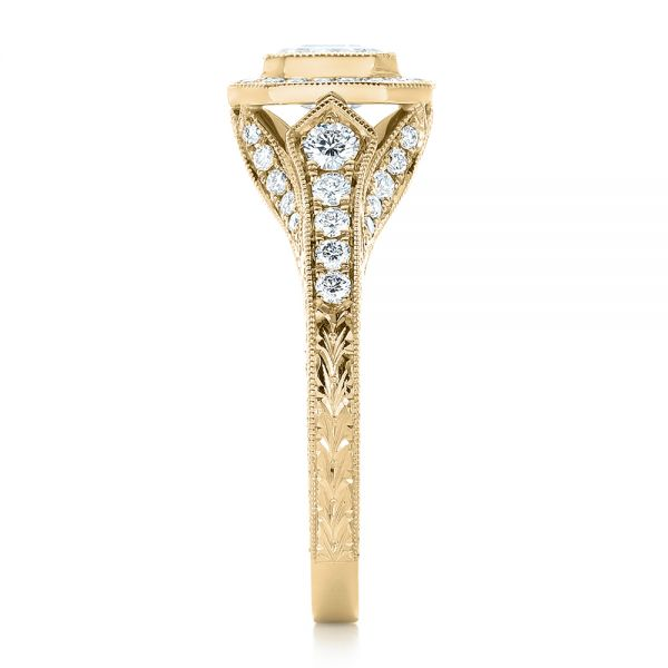 14k Yellow Gold 14k Yellow Gold Custom Asscher Diamond And Halo Engagement Ring - Side View -  102282