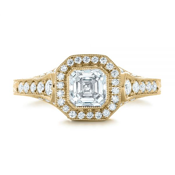 14k Yellow Gold 14k Yellow Gold Custom Asscher Diamond And Halo Engagement Ring - Top View -  102282