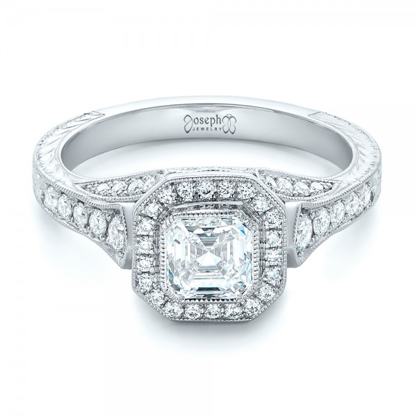 Custom Asscher Diamond and Halo Engagement Ring
