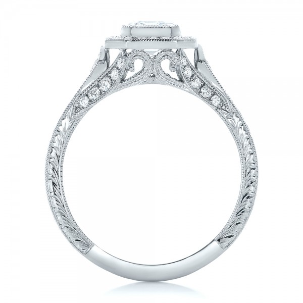 Custom Asscher Diamond and Halo Engagement Ring - Finger Through View