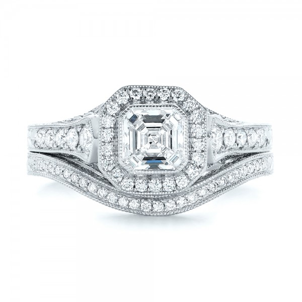 Custom Asscher Diamond and Halo Engagement Ring - Top View