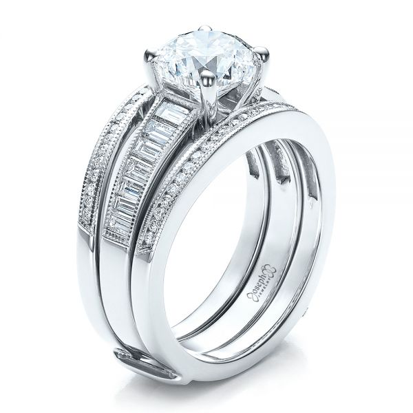 Custom Baguette Channel Engagement Ring with Jacket #100053