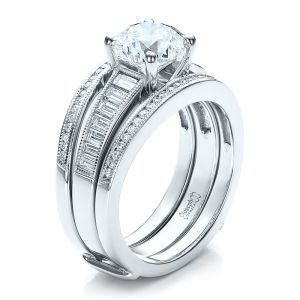 Custom Baguette Channel Engagement Ring with Jacket - Image