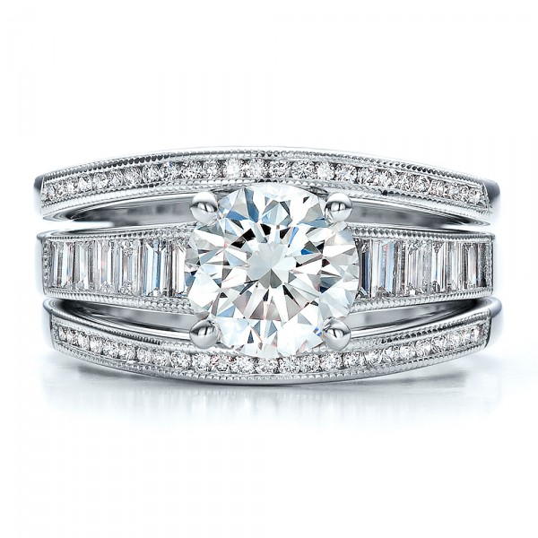 Custom Baguette Channel Engagement Ring with Jacket #100053 ...