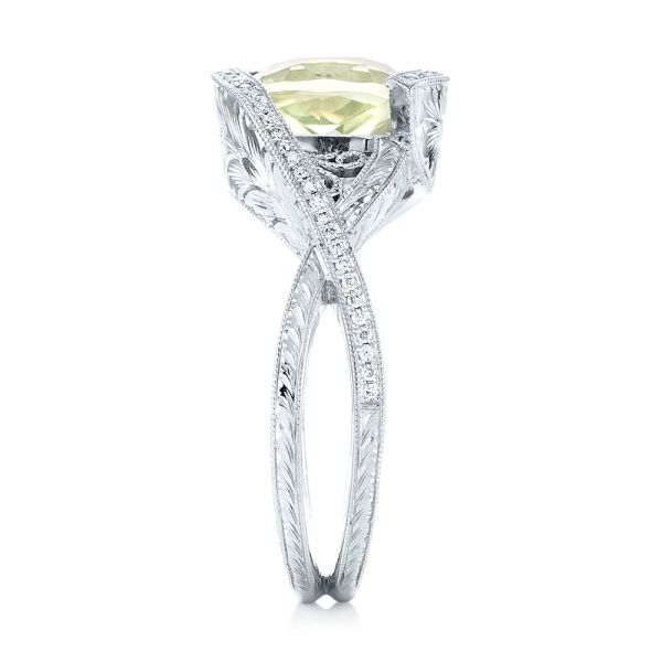 18k White Gold Custom Beryl And Diamond Engagement Ring - Side View -  103400