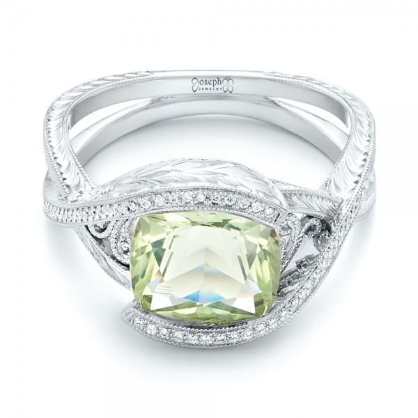 Custom Beryl and Diamond Engagement Ring - Laying View