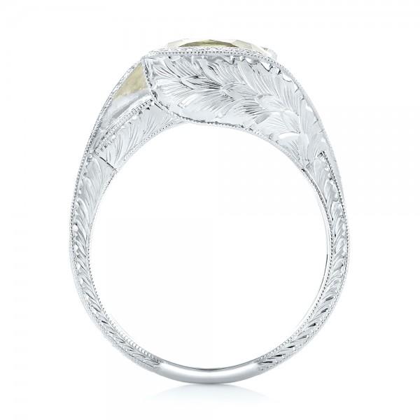 Custom Beryl and Diamond Engagement Ring - Finger Through View