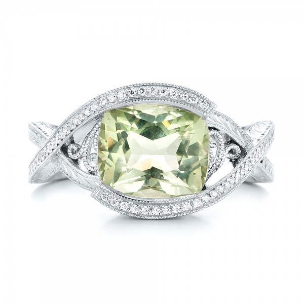 Custom Beryl and Diamond Engagement Ring - Top View