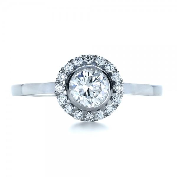 Custom Bezel Engagement Ring - Top View