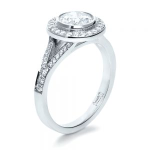 Custom Bezel Halo Diamond Engagement Ring - Image