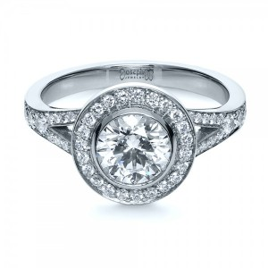 Custom Bezel Halo Diamond Engagement Ring