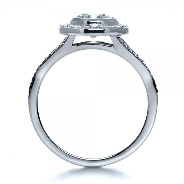 Custom Bezel Halo Diamond Engagement Ring - Finger Through View