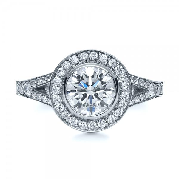Custom Bezel Halo Diamond Engagement Ring - Top View